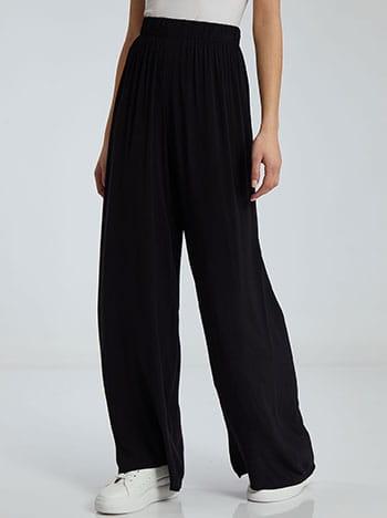 Παντελόνα σε ίσια γραμμή, ελαστική μέση, χωρίς κούμπωμα, απαλή υφή, μαυρο