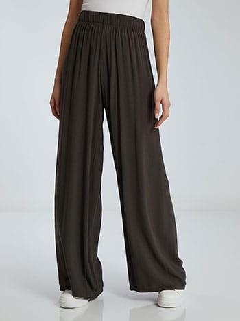 Παντελόνα σε ίσια γραμμή, ελαστική μέση, χωρίς κούμπωμα, απαλή υφή, χακι