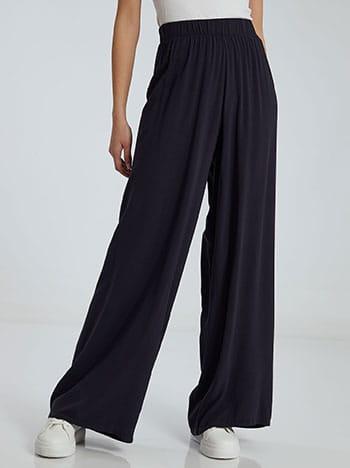 Παντελόνα σε ίσια γραμμή, ελαστική μέση, χωρίς κούμπωμα, απαλή υφή, σκουρο μπλε