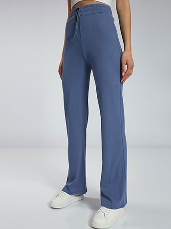 Ριπ παντελόνι φόρμας, ελαστική μέση, εσωτερικό κορδόνι, ύφασμα με ελαστικότητα, celestino collection, μπλε ραφ