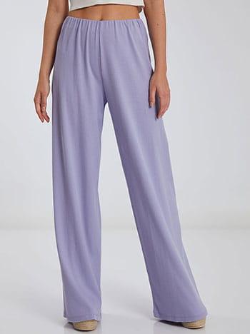 Ριπ παντελόνα, ελαστική μέση, χωρίς κούμπωμα, ύφασμα με ελαστικότητα, απαλή υφή, λιλα