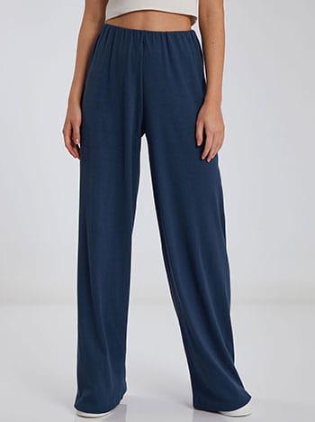 Ριπ παντελόνα, ελαστική μέση, χωρίς κούμπωμα, ύφασμα με ελαστικότητα, απαλή υφή, μπλε