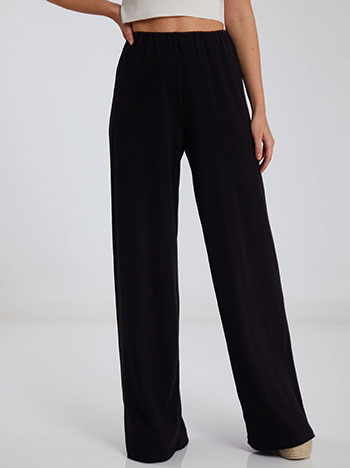 Ριπ παντελόνα, ελαστική μέση, χωρίς κούμπωμα, ύφασμα με ελαστικότητα, απαλή υφή, celestino collection, μαυρο