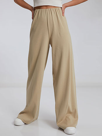 Ριπ παντελόνα, ελαστική μέση, χωρίς κούμπωμα, ύφασμα με ελαστικότητα, απαλή υφή, celestino collection, μπεζ