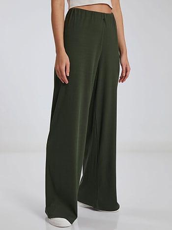 Ριπ παντελόνα, ελαστική μέση, χωρίς κούμπωμα, ύφασμα με ελαστικότητα, απαλή υφή, χακι