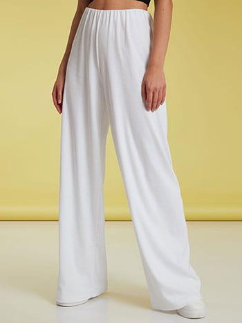 Ριπ παντελόνα, ελαστική μέση, χωρίς κούμπωμα, ύφασμα με ελαστικότητα, απαλή υφή, celestino collection, λευκο