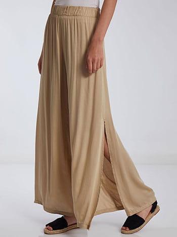 Παντελόνα με ανοίγματα στο πλάι, ελαστική μέση, χωρίς κούμπωμα, celestino collection, μπεζ