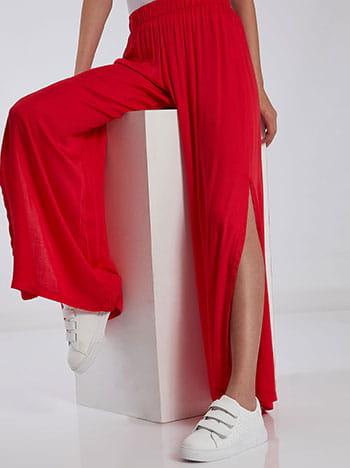 Παντελόνα με ανοίγματα στο πλάι, ελαστική μέση, χωρίς κούμπωμα, celestino collection, κοκκινο