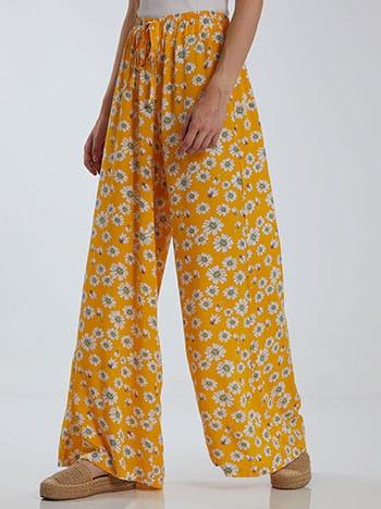 Floral παντελόνα, ελαστική μέση, εσωτερικό κορδόνι, celestino collection, κιτρινο