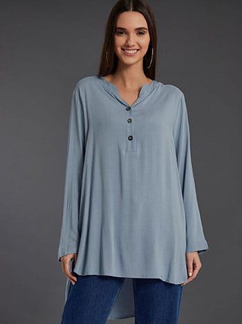 Βαμβακερή μπλούζα με κουμπιά, καμπύλη στο τελείωμα, ασύμμετρο τελείωμα, άνοιγμα στο πλάι, σιελ