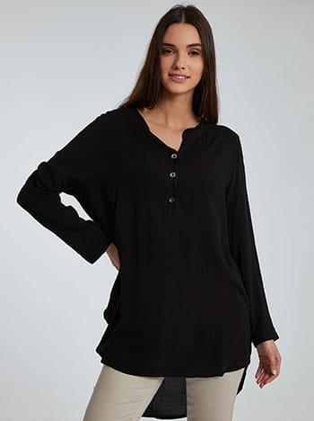 Βαμβακερή μπλούζα με κουμπιά, καμπύλη στο τελείωμα, ασύμμετρο τελείωμα, άνοιγμα στο πλάι, μαυρο