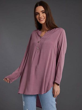 Βαμβακερή μπλούζα με κουμπιά, καμπύλη στο τελείωμα, ασύμμετρο τελείωμα, άνοιγμα στο πλάι, μωβ ανοιχτο