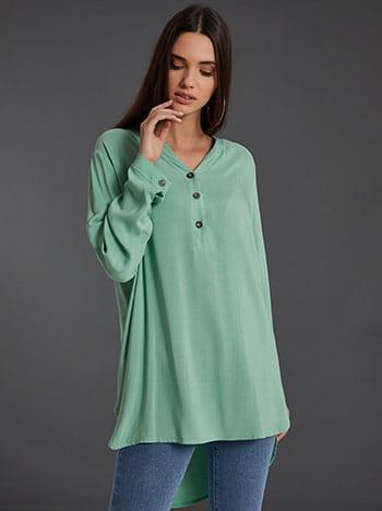 Βαμβακερή μπλούζα με κουμπιά, καμπύλη στο τελείωμα, ασύμμετρο τελείωμα, άνοιγμα στο πλάι, βεραμαν