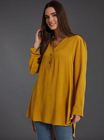 Βαμβακερή μπλούζα με κουμπιά, καμπύλη στο τελείωμα, ασύμμετρο τελείωμα, άνοιγμα στο πλάι, κιτρινο σκουρο