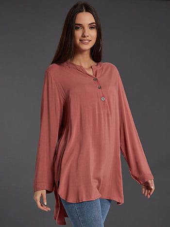 Βαμβακερή μπλούζα με κουμπιά, καμπύλη στο τελείωμα, ασύμμετρο τελείωμα, άνοιγμα στο πλάι, σαπιο μηλο