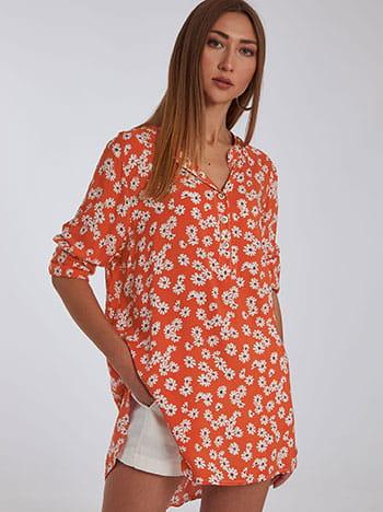Μακριά βαμβακερή μπλούζα, κλείσιμο με κουμπιά, ασύμμετρο τελείωμα, άνοιγμα στο πλάι, λευκο πορτοκαλι