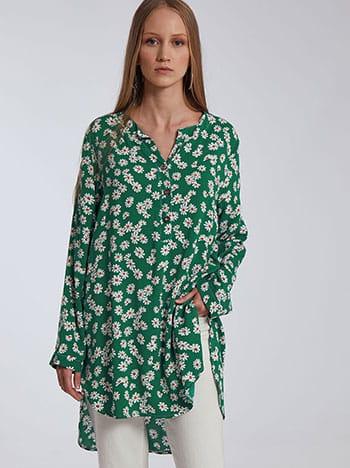 Μακριά floral βαμβακερή μπλούζα, κλείσιμο με κουμπιά, ασύμμετρο τελείωμα, άνοιγμα στο πλάι, πρασινο λευκο