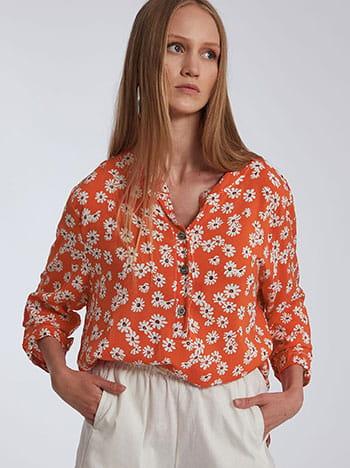 Μακριά floral βαμβακερή μπλούζα, κλείσιμο με κουμπιά, ασύμμετρο τελείωμα, άνοιγμα στο πλάι, λευκο πορτοκαλι