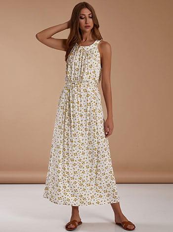 Φόρεμα με halter λαιμόκοψη, κλείσιμο με κουμπί, αποσπώμενη ζώνη, λευκο
