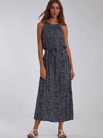Φόρεμα με halter λαιμόκοψη, κλείσιμο με κουμπί, αποσπώμενη ζώνη, μπλε σκουρο λευκο