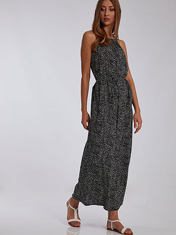 Φόρεμα με halter λαιμόκοψη, κλείσιμο με κουμπί, αποσπώμενη ζώνη, μαυρο λευκο