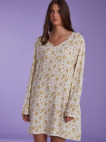 Midi φόρεμα με λουλούδια, μακρύ μανίκι, χωρίς κούμπωμα, απαλή υφή, κιτρινο σκ λευκο