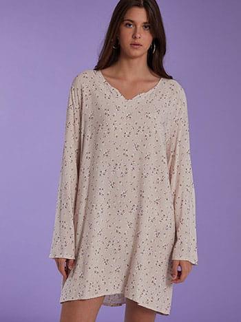 Midi φόρεμα με λουλούδια, μακρύ μανίκι, χωρίς κούμπωμα, απαλή υφή, λευκο πουδρα