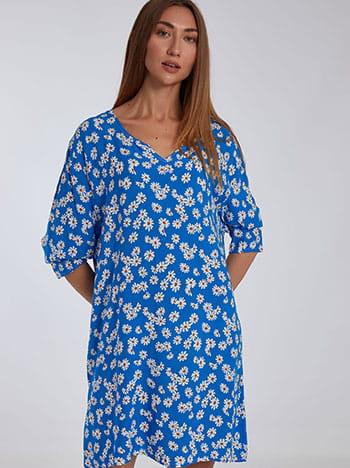 Βαμβακερό φόρεμα με μαργαρίτες, μακρύ μανίκι, χωρίς κούμπωμα, ασπρο-μπλε