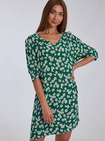 Βαμβακερό φόρεμα με μαργαρίτες, μακρύ μανίκι, χωρίς κούμπωμα, πρασινο λευκο