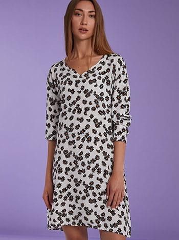 Βαμβακερό φόρεμα με μαργαρίτες, μακρύ μανίκι, χωρίς κούμπωμα, ασπρο-μαυρο