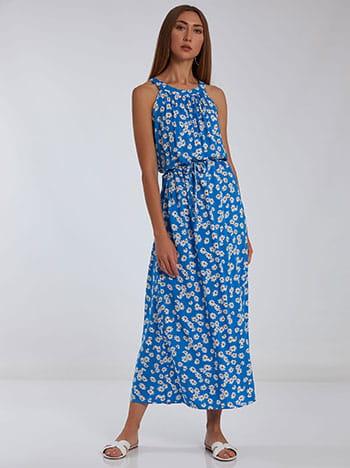 Φόρεμα με halter λαιμόκοψη, αποσπώμενη ζώνη, κλείσιμο με κουμπί, ασπρο-μπλε