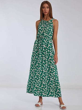 Φόρεμα με halter λαιμόκοψη, αποσπώμενη ζώνη, κλείσιμο με κουμπί, πρασινο λευκο
