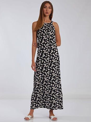 Φόρεμα με halter λαιμόκοψη, αποσπώμενη ζώνη, κλείσιμο με κουμπί, μαυρο λευκο