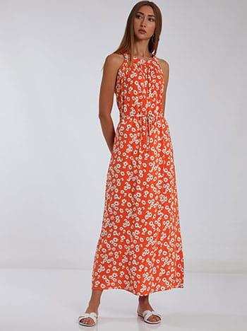 Φόρεμα με halter λαιμόκοψη, αποσπώμενη ζώνη, κλείσιμο με κουμπί, λευκο πορτοκαλι