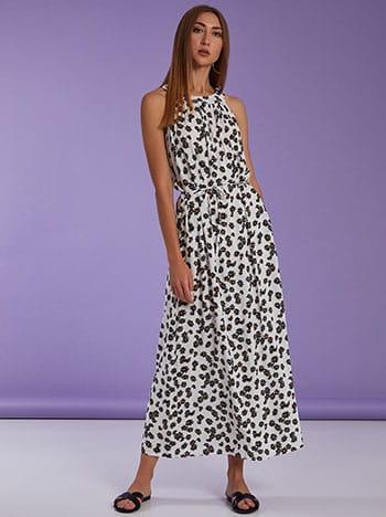 Φόρεμα με halter λαιμόκοψη, αποσπώμενη ζώνη, κλείσιμο με κουμπί, ασπρο-μαυρο