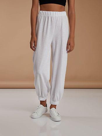 Φόρμα με ελαστικό τελείωμα, ελαστική μέση, celestino collection, λευκο