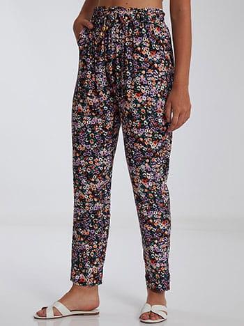 Εμπριμέ παντελόνι, ελαστική μέση, με τσέπες, διακοσμητικό κορδόνι, μιχ 1