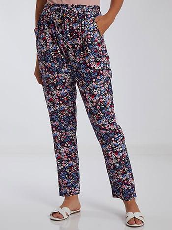 Εμπριμέ παντελόνι, ελαστική μέση, με τσέπες, διακοσμητικό κορδόνι, μιχ 2
