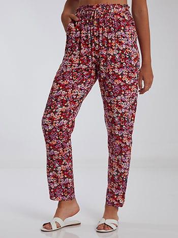 Εμπριμέ παντελόνι, ελαστική μέση, με τσέπες, διακοσμητικό κορδόνι, μιχ 3