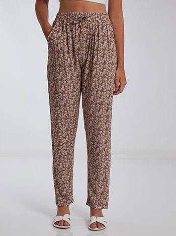 Εμπριμέ παντελόνι, ελαστική μέση, διακοσμητικό κορδόνι, με τσέπες, λαδι ανοιχτο λευκο