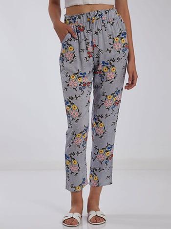 Παντελόνι με λουλούδια, ελαστική μέση, με τσέπες, διακοσμητικό κορδόνι, γκρι