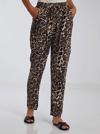 Λεοπάρ παντελόνι, ελαστική μέση, με τσέπες, διακοσμητικό κορδόνι, λεοπαρ