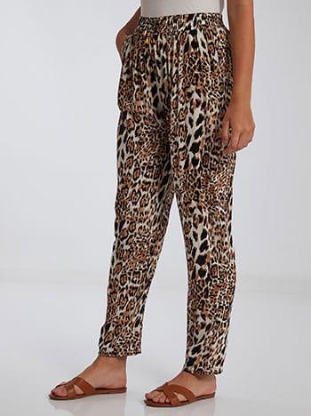 Λεοπάρ παντελόνι, ελαστική μέση, με τσέπες, διακοσμητικό κορδόνι, λεοπαρ 1