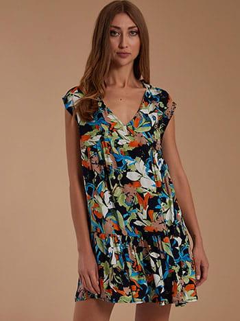 Εμπριμέ mini φόρεμα, v λαιμόκοψη, χωρίς κούμπωμα, με βολάν, μιχ 2