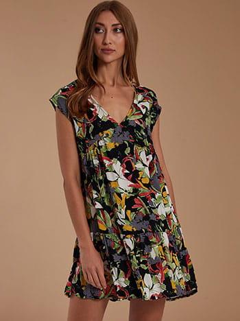 Εμπριμέ mini φόρεμα, v λαιμόκοψη, χωρίς κούμπωμα, με βολάν, μιχ 4