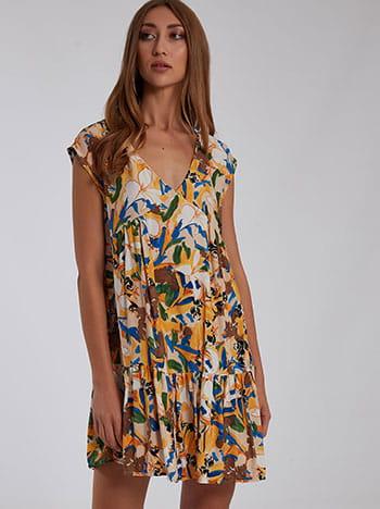 Εμπριμέ mini φόρεμα, v λαιμόκοψη, χωρίς κούμπωμα, με βολάν, μιχ 5