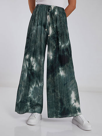 Πλισέ tie dye παντελόνα, ελαστική μέση, εσωτερικό κορδόνι, μιχ 1