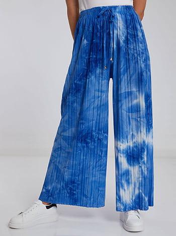 Πλισέ tie dye παντελόνα, ελαστική μέση, εσωτερικό κορδόνι, μιχ 3