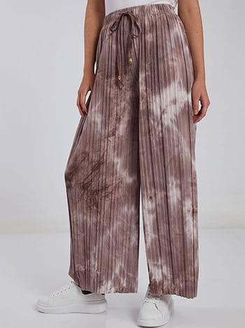 Πλισέ tie dye παντελόνα, ελαστική μέση, εσωτερικό κορδόνι, μιχ 4