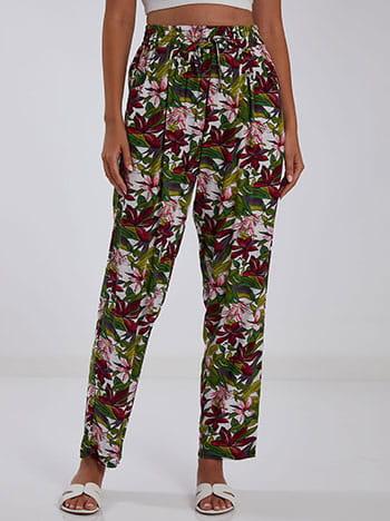 Εμπριμέ παντελόνι, ελαστική μέση, διακοσμητικό κορδόνι, με τσέπες, μιχ 1
